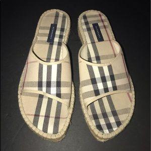 Burberry slide espadrille sandals